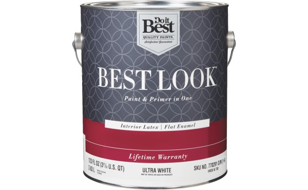 Best Look Latex Paint & Primer In One Interior Wall Paint, Ultra White, 1 Gal.