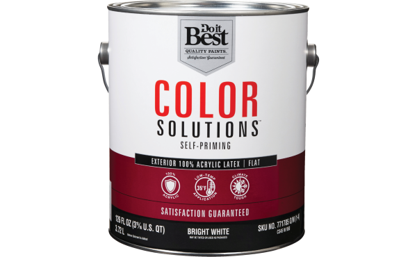 Do it Best Color Solutions 100% Acrylic Latex Self-Priming Exterior House Paint, Bright White, 1 Gal.