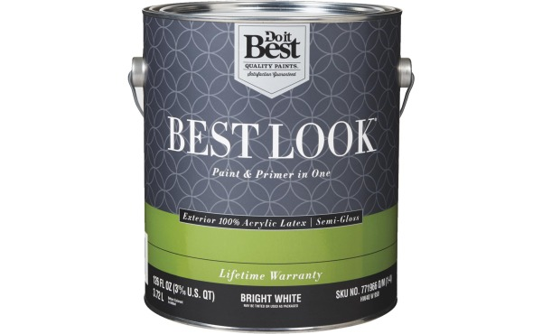 Best Look 100% Acrylic Latex Paint & Primer In One Exterior House Paint, Bright White, 1 Gal.